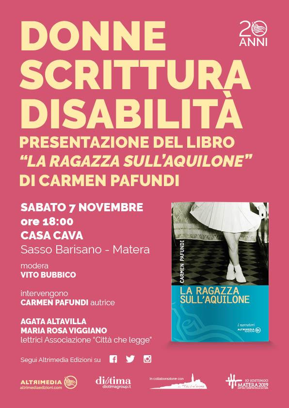 """""""Donne, scrittura, disabilità"""" se ne parla sabato con il terzo libro di Carmen Pafundi"""