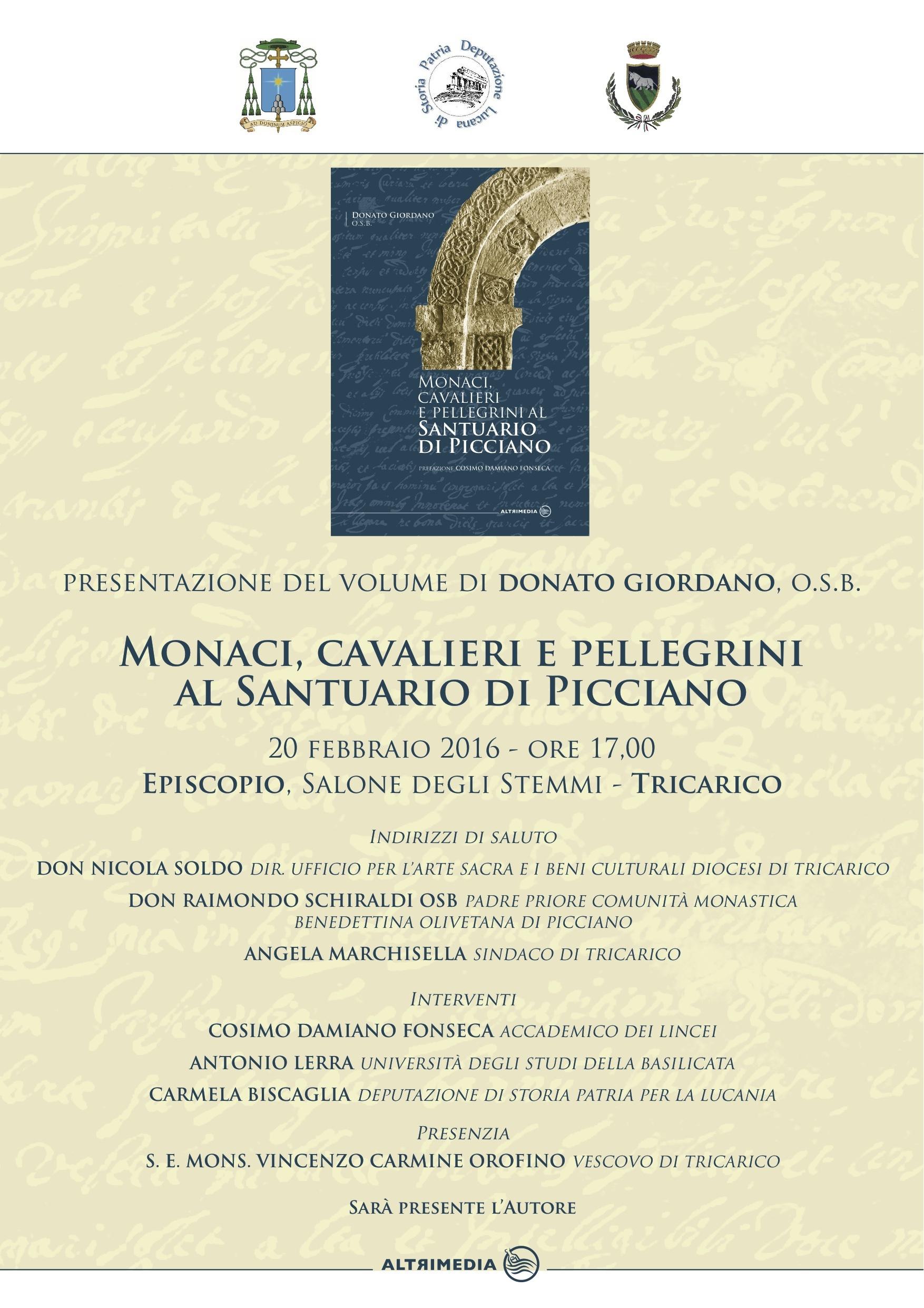 """""""Monaci, cavalieri e pellegrini al santuario di Picciano"""", presentazione a Tricarico"""