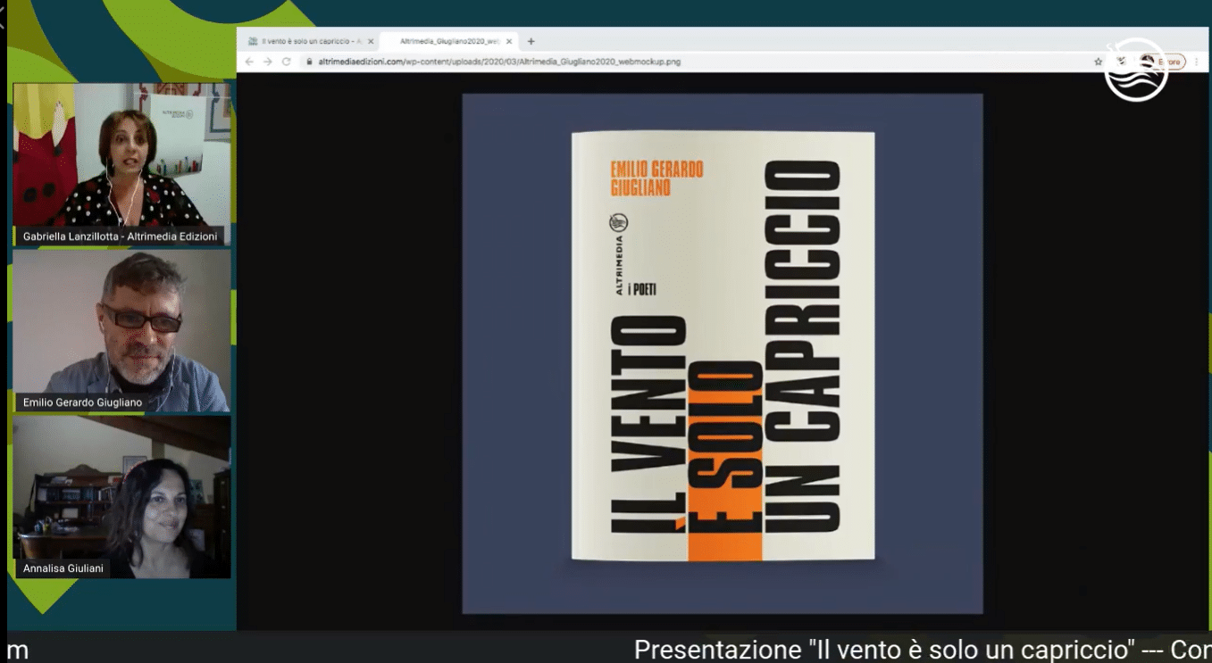 """""""Il vento è solo un capriccio"""", presentata in streaming la nuova raccolta di poesie di Emilio Gerardo Giugliano"""