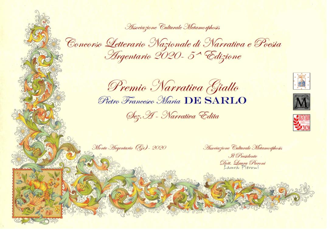 """Premio Narrativa Giallo/Thriller del Concorso Letterario Nazionale Argentario 2020 a """"Dalla parte dell'assassino"""""""
